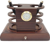WOODHOUSE 3 Compartments Wooden Pen Stand::Double Side::Drawer(Cherry)