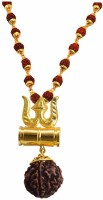 Rudram Gold Plated Om Damru Shiv Kavach with Panchmukhi Rudraksha Mala Gold and Brown Wood and Brass Om Pendant Necklace for Men Women - Silver Wood Pendant