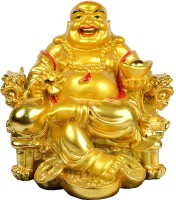 FOBHIYA Fengshui Laughing Buddha Sitting On Chair Ingot, Sitting Laughing Buddha with Money Coin Statue for Attracting Money Wealth Prosperity Financial Luck, Made in India Best for Gifting Decorative Showpiece  -  7 cm(Polyresin, Gold)