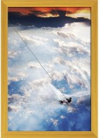 Man Moves On Water Skis In The Sky Paper Poster Golden Frame   Top Acrylic Glass 13inch x 19inch (33cms x 48.3cms) Paper Print(19 inch X 13 inch, Framed)
