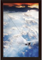 Man Moves On Water Skis In The Sky Paper Poster Dark Brown Frame   Top Acrylic Glass Paper Print(19 inch X 13 inch)