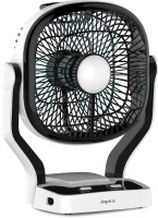 Impex Solar Rechargeable Fan (BREEZE D1) with LED Light Dual Speed Mode 7 mm 3 Blade Table Fan(Black, Pack of 1)