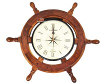 noor handicrafts Nautical Moon Light Blue Large Wooden Ship Wheel with Ship's Time Captain's Clock - Pirate Home Decorative Clock (Black Dial Face) (24 x 24 x 2 inches Clock 12