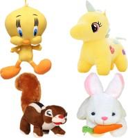 Renox combo of 4, tweety, Unicron, squirrel, rabbit Plush Toy for Kids, Gift & Decoration (teddy bear  - 25 cm(Yellow, White)