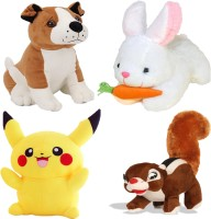 Renox Combo of 4, Bull dog, Rabbit with Carrot, Squirrel, Pikachu Plush Toy for Kids, Gift & Decoration (teddy bear)  - 25 cm(Multicolor)