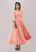 Mahageeta Women Printed Flared Kurta(Pink)