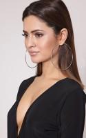Vings-feel it Fashion Party Casual Silver Plated Alloy Big Hoop Ear Bali Ring Earrings for Women & Girls (8cm) Alloy Hoop Earring