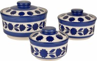 Style My Way Studio Pottery Handpainted Ceramic Serving Donga with Lid Casserole Set (Set of 3, White and Blue)   Dinner Serving Set   Pack of 3 Serve Casserole Set(900 ml, 500 ml, 300 ml)