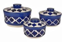 Style My Way Studio Pottery Handpainted Ceramic Serving Donga with Lid Casserole Set (Set of 3, Blue)   Dinner Serving Set   Pack of 3 Serve Casserole Set(900 ml, 500 ml, 300 ml)