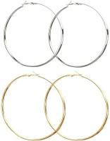 Vings-feel it Fashion Party Casual Big(8cms) Gold/Silver Plated Alloy Hoop Ear Bali Ring Earrings for Women & Girls(pack of 2) Alloy Hoop Earring