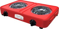 Orbon Double Heavy Duty Powder Coated 1000 Watt + 1000 Watts Electric Coil Cooking Stove | Electric Cooking Heater | Induction Cooktop | G Coil Hot Plate Stove | Works With All Cookwares (Red) Radiant Cooktop(Red, Jog Dial)