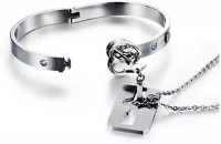 Heer Collection Stainless Steel Crystal Silver Bracelet