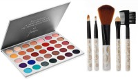 DPDM eyeshadow pallete with blusher highlighter glitter shimmer matte shinning shades with makeup brushes(6 Items in the set)