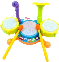VikriDa Kids Drum Set, Drum Set for Kids Electric Toys Toddler Musical Instruments Playset Flash Light Toy with Adjustable Microphone, Toys for Boys and Girls(Multicolor)
