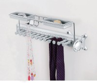 BTL Pullout Multi Function Wardrobe Hanging Rack (Tie and Belt Rack) (BWA-HR-101-S) Aluminium Wall Shelf(Number of Shelves - 1, Silver)