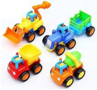 Om Enterprise Unbreakable Automotive Building & Construction Toys Set Of 4 Piece JCB, Tractor with Trolley, Cement Mixer & Dumper Pull Back Toys, Multi Color(Multicolor, Pack of: 1)