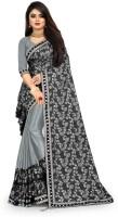 HUTAH Printed Fashion Lycra Blend Saree(Grey)