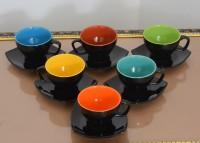 Craftcera Pack of 12 Ceramic Craftcera Ceramic Black & Multi Cup Saucer Set of 6(Multicolor)