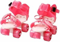 AIZCOS Adjustable Multi Color Quad Shoe Roller Skates for Boys and Girls, Inline Skating Shoes Suitable for Age Group 5 to 12 Years, Size 4-6 UK Quad Roller Skates - Size 4-6 UK(Pink)