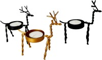 Homesutraa Metal Handmade Decorative Reindeer Candle Holder/Stand [Set of 3 - 2 Black & 1 Golden] for Home & Table Decor - Perfect Gift Idea [Size in CMs - Each Deer-12X13X5] Iron Tealight Holder Set(Black, Gold, Pack of 3)