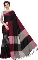 3SIX5 Self Design Banarasi Cotton Silk Saree(Black)