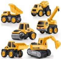 Om Enterprise Engineering Metal Team Car Unbreakable Engineering Automobile Construction Car Machine Toys Set for Children Kids Tractor Trolly, Trucks and JCB Machine (Set of 6)(Yellow,Black, Pack of: 6)