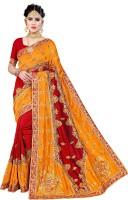 Krishna R Fashion Woven, Embroidered Bollywood Vichitra Saree(Yellow, Red)