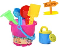 KIDZANIA Beach Tool 8 Pcs with Bucket -Garden/Sand Play(Set of 8 with Multiple PlayTools)Kid's Gardening (Multicolor)(Multicolor)