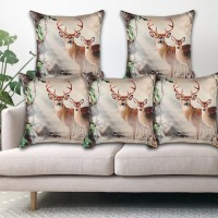 Flyer Printed Cushions & Pillows Cover(Pack of 5, 40 cm*40 cm, Beige)