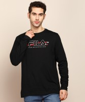 Fila Printed Men Round Neck Black T-Shirt