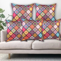 Flyer Printed Cushions & Pillows Cover(Pack of 5, 40 cm*40 cm, Multicolor)