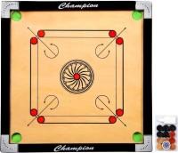 Craftnation 26 X 26 Medium Size Matte Finish Carrom Board with Wooden Coins+Stricker & Powder Carrom Board Board Game