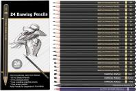Definite Graphite Sketch Drawing Pencils- 14B, 12B, 10B, 8B, 7B, 6B, 5B, 4B, 3B, 2B, B, H, HB, 2H, 3H, 4H, 5H, 6H and 7H (19 Pencils); Charcoal Pencils - Hard, Medium and Soft (3 Pencils); 1 Woodless Graphite Pencil- 6B and 1 Sketch Eraser Pencil(Pack of 24)