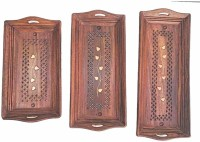A INNOVATIVE CRAFT GALLERY Wooden Coffee Tray Set of 3 Brown Tray(3 Tray)