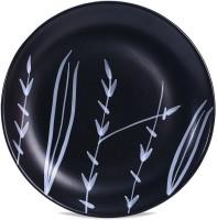 Caffeine Ceramic Handmade Black Bamboo 10 inch Dinner Plate(Dinner Plate)