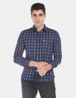 U.S. POLO ASSN. Men Checkered Casual Blue Shirt