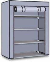 Palkolink Multipurpose Adjustable 4 Shelves Plastic Collapsible Shoe Stand(Red, 4 Shelves, DIY(Do-It-Yourself))