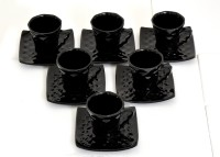 Bobby Designs Pack of 12 Ceramic Ceramic Designer Black Cup Saucer Set of 6, (Square Saucer)(Black)
