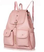 MUSRAT PU Leather Backpack School Bag Student Backpack Women Travel bag 10 L Backpack 10 L Backpack(Pink)
