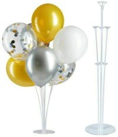Balloonistics Solid Balloon Stand, Set of Clear Table Desktop Balloon Holder with 7 Balloon Sticks, 7 Balloon Cups and 1 Balloon Base for Birthday | Wedding Party, Holidays, Anniversary Decorations Balloon Balloon Bouquet(Multicolor, Pack of 7)