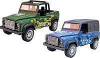 Toyshack Pull Back Die Cast Military Off Road Jeeps with Rubber Wheels & Door Opening for Kids, Multicolor(Green)