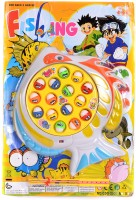 Funkey Fishing Game Musical Fishing Game Toy with 15 Fishes, Fishing Game Electronic Musical Rotating Toy with 15 Fishs 3 Fishing Rods(Multicolor)