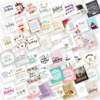 purezento Set of 48 Birthday Cards For Explosion Box or Other DIY Happy Birthday Card Unique Greeting Card for Girlfriend/Boyfriend/Friends to Gift on Birthday 3X3 Inches Greeting Card(Multicolor, Pack of 48)