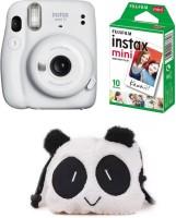 FUJIFILM Instax Mini 11 mini 11 White with 10 Shot and Panda pouch Instant Camera(White)