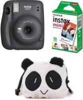 FUJIFILM Instax Mini 11 Mini 11 Charcoal Grey with 10 Shot and Panda pouch Instant Camera(Grey)