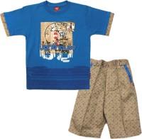 Kids Care Boys Casual T-shirt Pant(Blue)