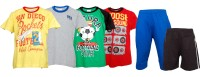 Little Stars Boys Casual T-shirt Three Fourth Pant(Multicolor)