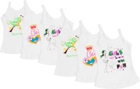 Littly Camisole For Girls(White, Pack of 6)