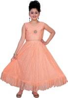 Saarah Girls Maxi/Full Length Party Dress(Orange, Sleeveless)