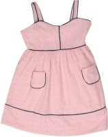 US Polo Kids Girls Mini/Short Casual Dress(Pink, Sleeveless)